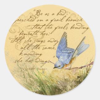 Bluebird on Branch & Victor Hugo Quote Round Sticker
