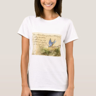 Bluebird on Branch & Victor Hugo Quote T-Shirt