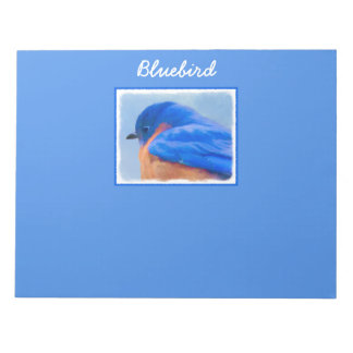 Bluebird Painting - Original Bird Art Notepad