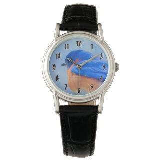 Bluebird Painting - Original Bird Art Watch