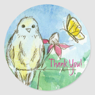 Bluebird Pink Coneflower Butterfly Thank You Classic Round Sticker