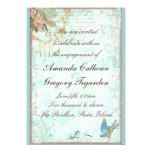 Bluebird & Pink Roses Engagement Announcement 13 Cm X 18 Cm Invitation Card