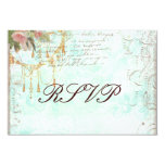 Bluebird & Pink Roses RSVP Cards 9 Cm X 13 Cm Invitation Card