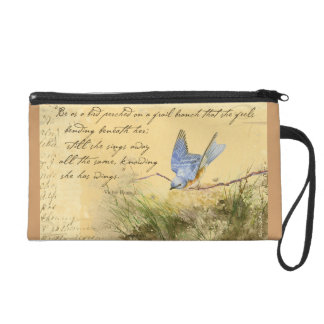Bluebird Poem Wristlet Purses