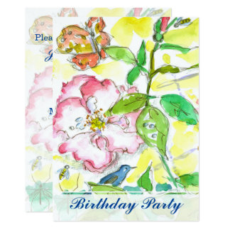 Bluebird Roses 75th Birthday Party Invitation