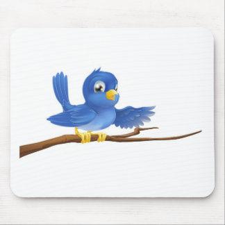 Bluebird sitting on branch pointing mouse pads