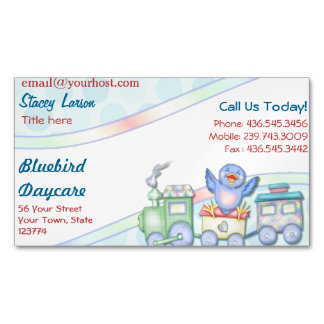 Bluebird Train Daycare Magnetic Business Card Magnetic Business Cards