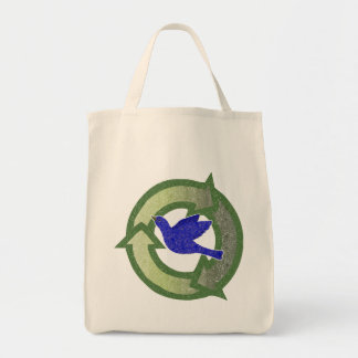 Bluebird Vintage Organic Recycle Grocery Tote Bag