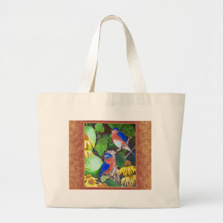 Bluebird with border tote bag