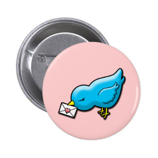 Bluebird with love letter pin