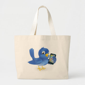 Bluebird with mobile phone canvas bag