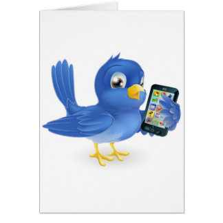 Bluebird with mobile phone greeting cards