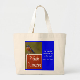 Bluebird with Thoreau Quote Tote Bag