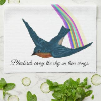 Bluebirds and Artistic Stylized Rainbow Tea Towel