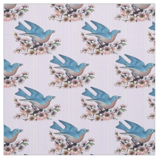Bluebirds And Cherry Blossoms Fabric