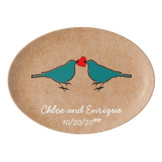 Bluebirds and Love Heart Wedding Porcelain Serving Platter