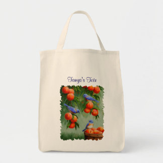 Bluebirds and Peaches Grocery Tote Bag