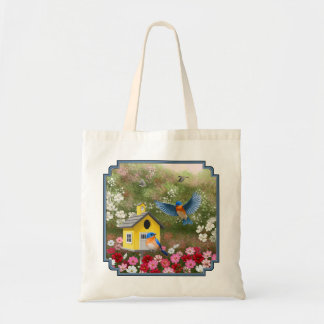 Bluebirds and Yellow Birdhouse Budget Tote Bag