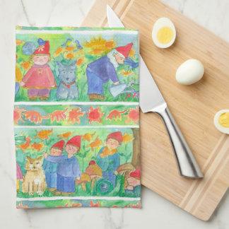 Bluebirds Garden Gnomes Tea Towel