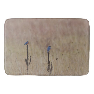 Bluebirds in a field bath mat