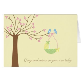 Bluebirds New Baby Congratulations Card