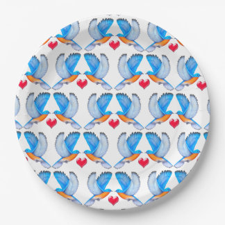 Bluebirds of Happiness Paper Plates 9 Inch Paper Plate