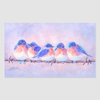 BLUEBIRDS on a WIRE by SHARON SHARPE Rectangular Sticker