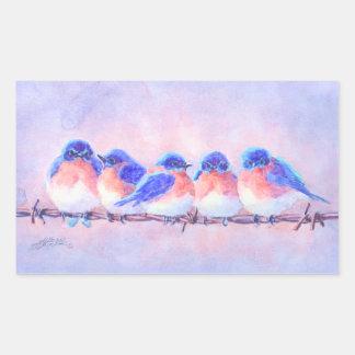 BLUEBIRDS on a WIRE by SHARON SHARPE Rectangular Sticker