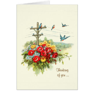 Bluebirds on Power Line Thinking of You Card