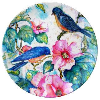 Bluebirds Porcelain Plate
