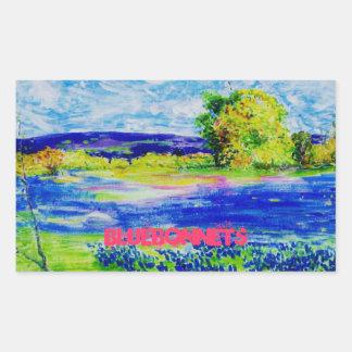 bluebonnet art rectangular sticker