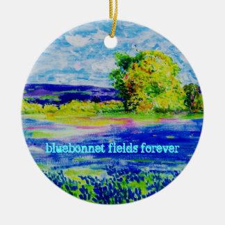 bluebonnet fields forever round ceramic decoration