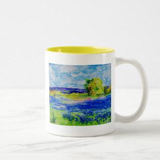 bluebonnet fields Two-Tone mug