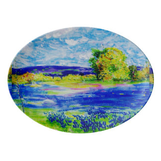 bluebonnet fields porcelain serving platter