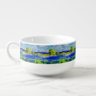 bluebonnet fields soup bowl with handle