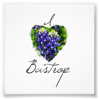 """Bluebonnet """"I Heart Bastrop' Square Print Photographic Print"""