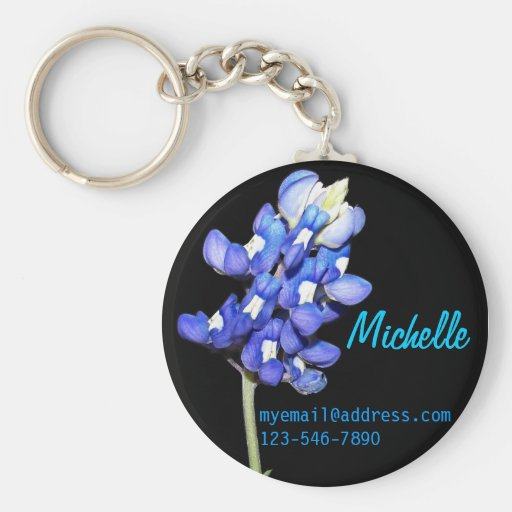 Bluebonnet Personalized Keychain with Contact Info