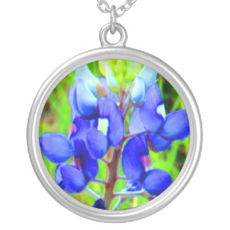 Bluebonnet photo sterling silver charm necklace