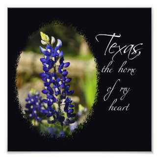 "Bluebonnet ""Texas, the Home of My Heart"" Print"