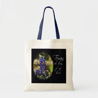"""Bluebonnet """"Texas the Home of My Heart"""" Tote Bag"""