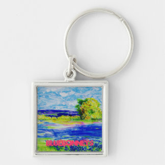 bluebonnet  wildflowers art Silver-Colored square key ring