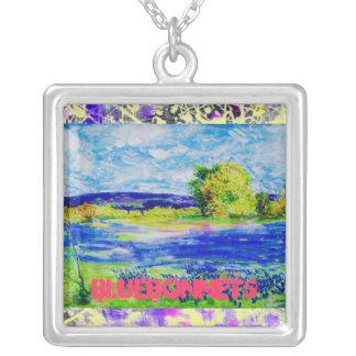 bluebonnet wildflowers drip art square pendant necklace