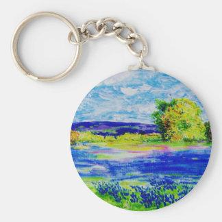 bluebonnet  wildflowers basic round button key ring