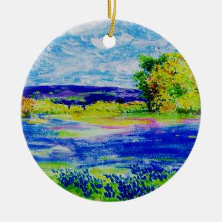 bluebonnet  wildflowers round ceramic decoration