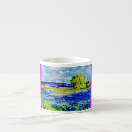 bluebonnet wildflowers espresso cups