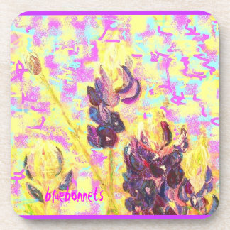 bluebonnet wildflowers upclose drink coaster