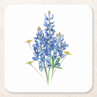 Bluebonnets and Wildflowers Square Paper Coaster