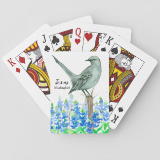 Bluebonnets Mockingbird State Bird of Texas Playing Cards