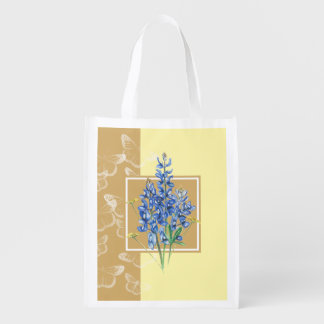 Bluebonnets on Neutral Butterfly Background Reusable Grocery Bag