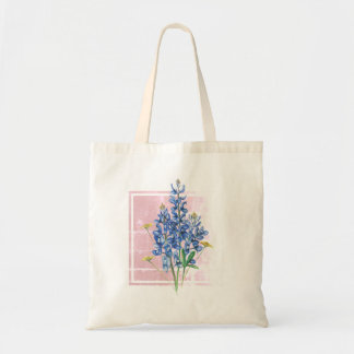 Bluebonnets on Pink Square Tote Bag